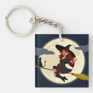 Halloween Witch Single-Sided Square Acrylic Key Ring