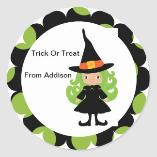 Halloween Witch Treat Bag Sticker Personalized