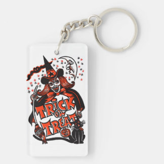 Halloween Witch Trick or Treat Double-Sided Rectangular Acrylic Key Ring
