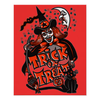 Halloween Witch Trick or Treat Poster