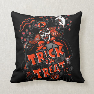Halloween Witch Trick or Treat Throw Cushion