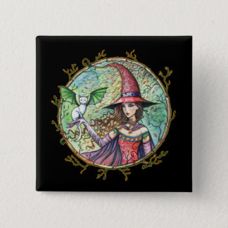 Halloween Witch White Cat Pin Button