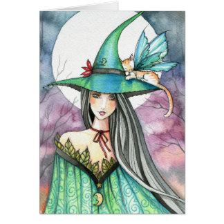 Halloween Witch Winged Cat Card