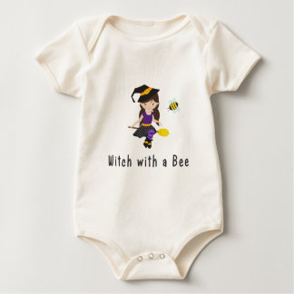 Halloween Witch with a Bee Baby Bodysuit