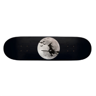 Halloween witch with a cat flies on the sky custom skate board