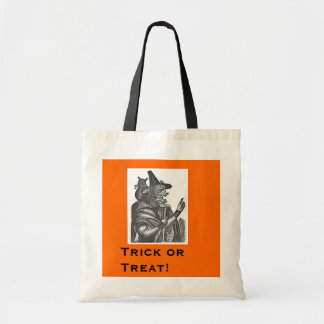 Halloween Witch with Black Cat Tote Bags