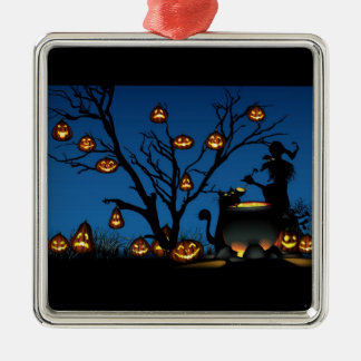 Halloween Witch with Pumpkins background Metal Ornament