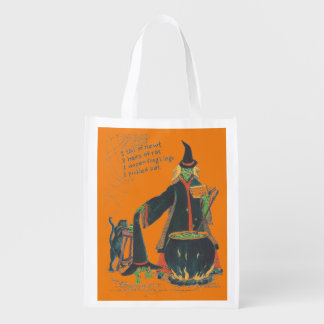 Halloween Witches Brew Bat Newt Frog Color Design Reusable Grocery Bag