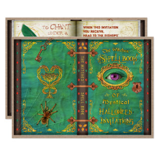 Halloween Witches Magic Spell Book Eyeball Party Card