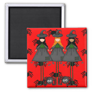Halloween Witches Square Magnet