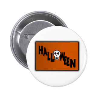 Halloween With Skull Webs Orange Background Pin