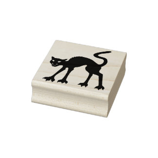 Halloween Wood Art Stamps/Black Cat Rubber Stamp