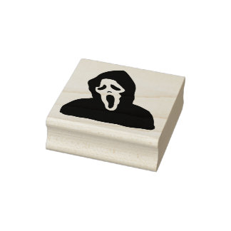 Halloween Wood Art Stamps/Hooded Ghost Rubber Stamp