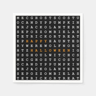 Halloween Word Search Paper Napkins