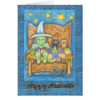 Halloween Wtich in bed with cat and owl Card