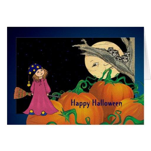 Halloween Young Girl Night Sky Greeting Card