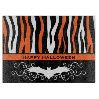 Halloween zebra pattern and vampire bat cutting boards