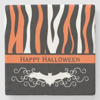 Halloween zebra pattern and vampire bat decor stone beverage coaster