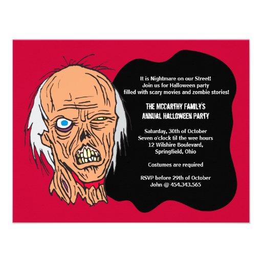 Halloween Zombie Costume Party Invitation