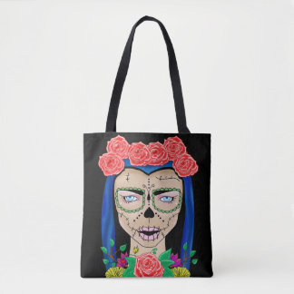 Halloween zombie girl tote bag
