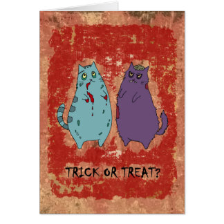 "Halloween Zombie Kitties Card ""Trick or Treat?"""