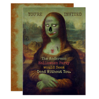 Halloween Zombie Mona Lisa Scary Spooky Party 13 Cm X 18 Cm Invitation Card
