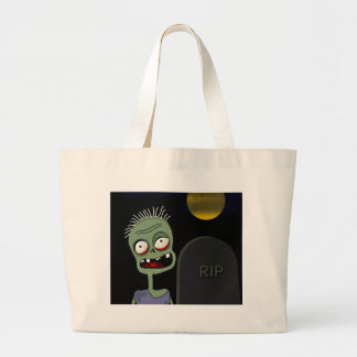 Halloween - zombie on the cemetery large tote bag