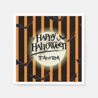 Hallowen Stripes and Bats Disposable Serviettes