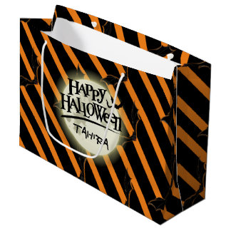 Hallowen Stripes and Bats Large Gift Bag