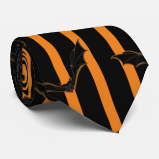 Hallowen Stripes and Bats Tie