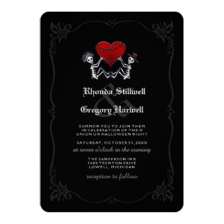 Hallowen Wedding Skeletons Heart - Summon You 5x7 Paper Invitation Card