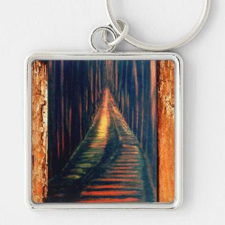 Hallway to The Executioner Silver-Colored Square Key Ring