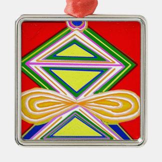 HALU HALOO Karuna Reiki - Tripod Triangle Symbols Silver-Colored Square Decoration
