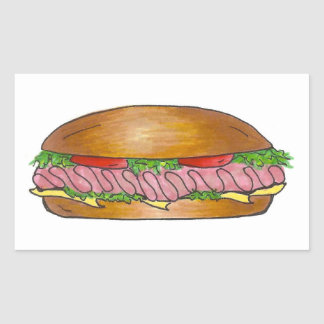 Ham and Cheese Hoagie Grinder Hero Sub Sandwich Rectangular Sticker