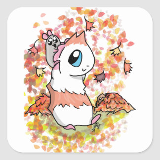 Ham and Piggy autumn Square Sticker