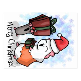 Ham and Piggy Christmas Postcard