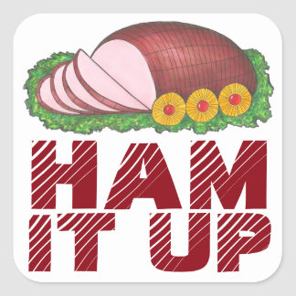 HAM IT UP Funny Holiday Foodie Christmas Stickers