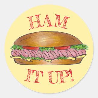 Ham It Up Hoagie Sub Grinder Sandwich Meat Cheese Classic Round Sticker