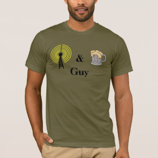 Ham Radio and Beer Guy T-shirt  Customize Call Sig