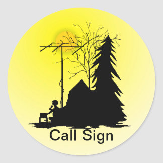Ham Radio Field Day Operator Silhouette Stickers