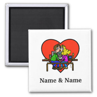 Ham Radio Kissing Couple Magnet
