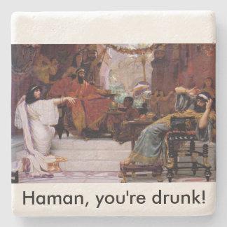 Haman, you're drunk! stone beverage coaster
