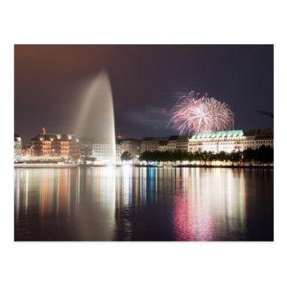 Hamburg Fireworks Postcard