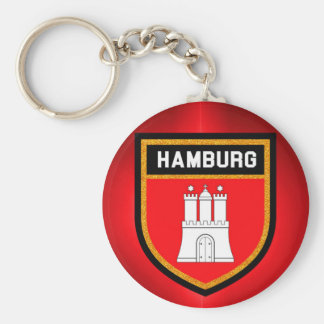 Hamburg Flag Basic Round Button Key Ring