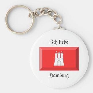 Hamburg Flag Gem Key Chain