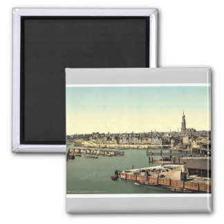Hamburg from the Watch Tower, Germany classic Phot Square Magnet