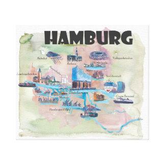 Hamburg Germany Retro Vintage Map Canvas Print