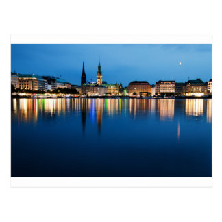 Hamburg Lake Binnenalster at Night Postcard