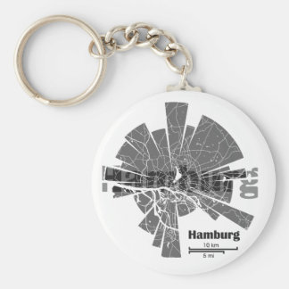 Hamburg Map Basic Round Button Key Ring