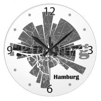 Hamburg Map Large Clock